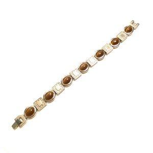 Brown silver link bracelet